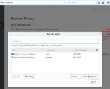 View Mozilla Firefox Password Manager