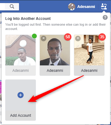 Facebook account switcher
