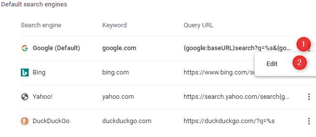Set Google as a default search engine