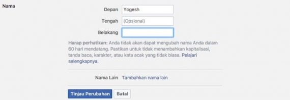 Use Single Name on Facebook [No Surname & Last Name]