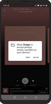 Zedge permission