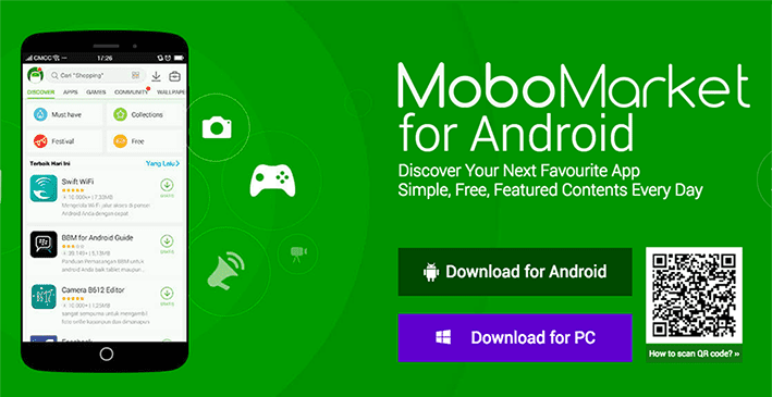 MoboMarket is an apps store to download and install third-party apps, games, wallpaper, and other utilities on Android and iOS devices for free.