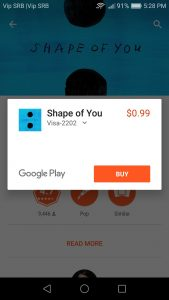 Buying music from the play store