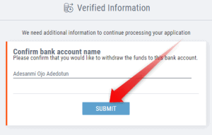 Submit bank account name