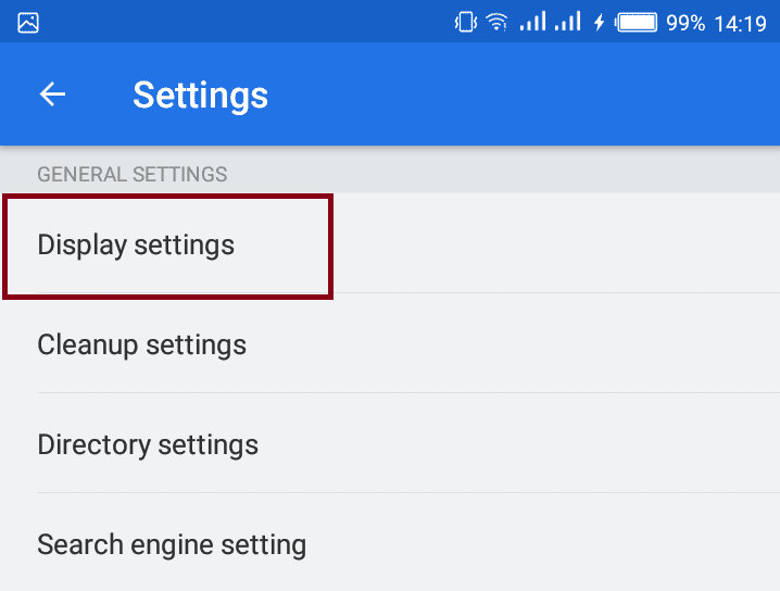 WhatsApp display settings