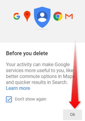 Delete all Google history