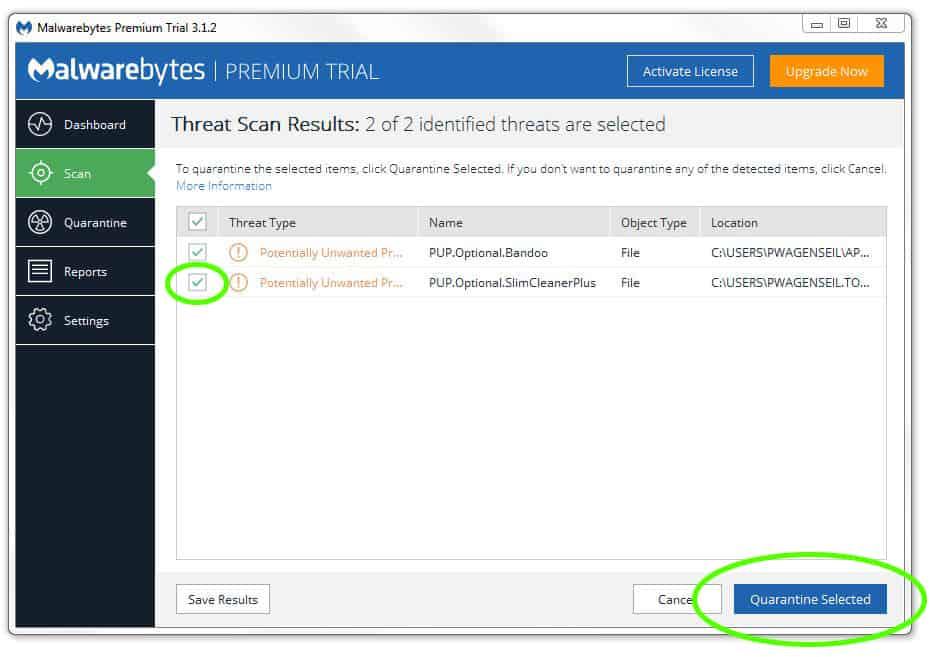 Quarantine malware