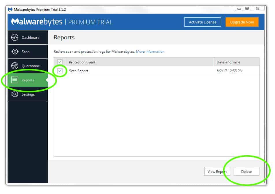 Malware bytes quarantine
