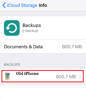 Old iPhone backup