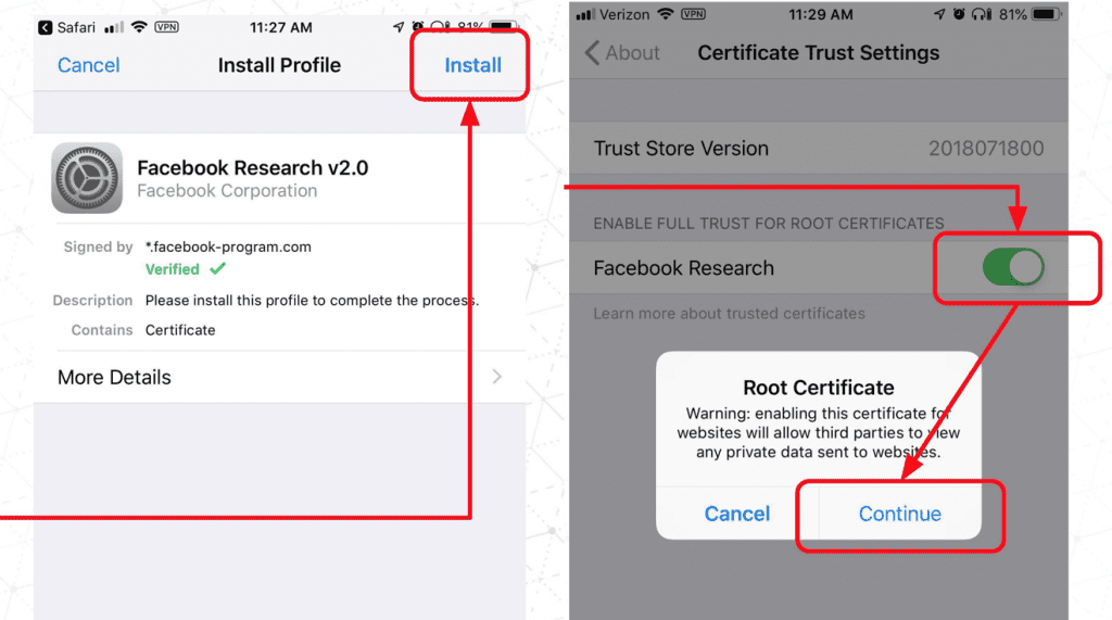 Facebook research app registration