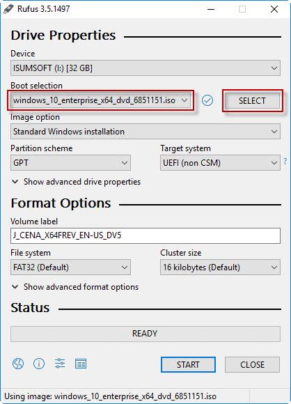 Select Windows ISO