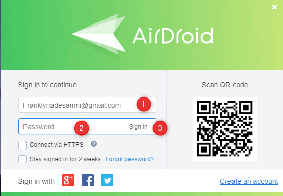 Login AirDroid Web
