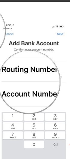 Routing and account number