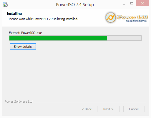 Power ISO is installing