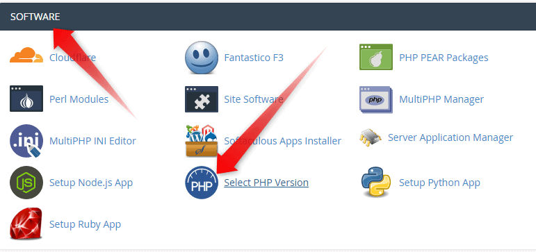 Select Software and go to PHP version
