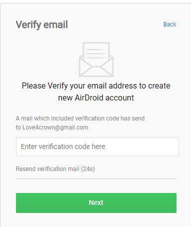 Enter AirDroid verification code