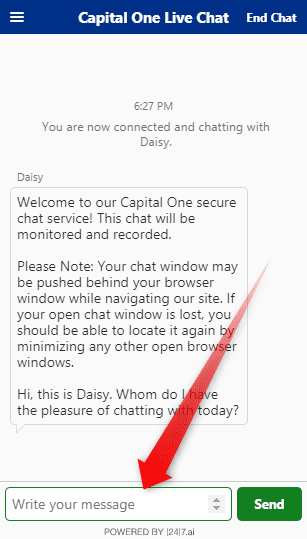 Capital One Customer Service live chat
