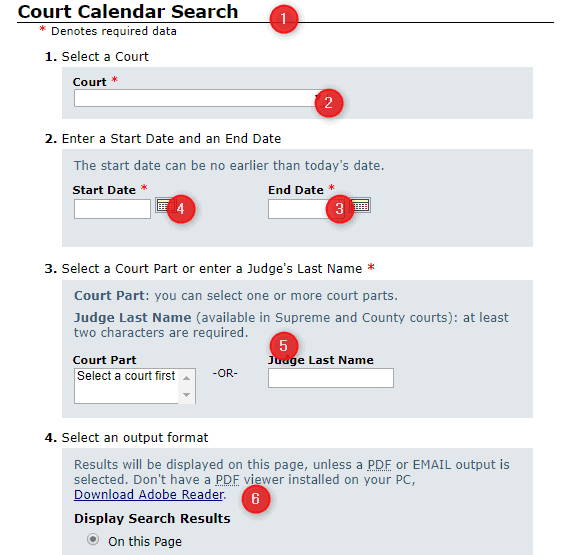 New York Court Calendar