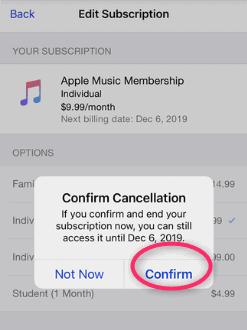 Stop Apple music membership