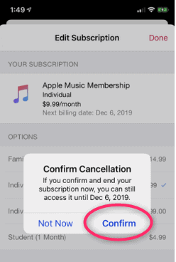 Unsubscribe from Apple Music free trial