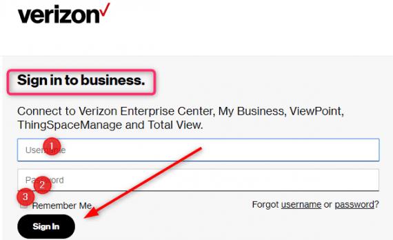 My Verizon Login Business