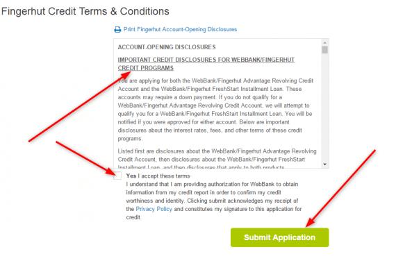 Fingerhut application submit