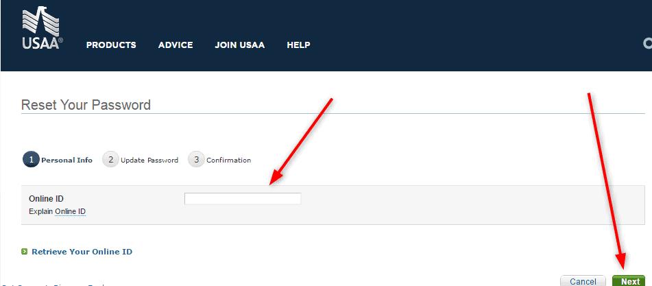 Reset USAA Password