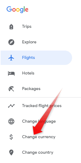 Google Flights Currency