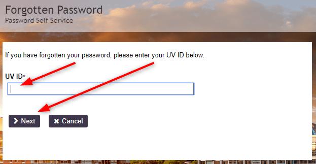 myUVU Password Reset