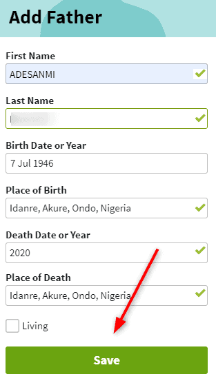 Add Father to Ancestry tree