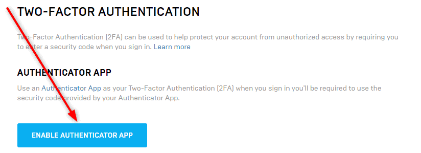 Fortnite two factor authentication