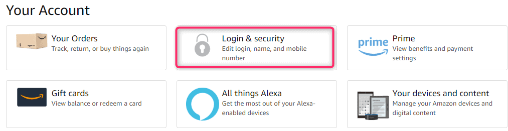 Amazon login and security