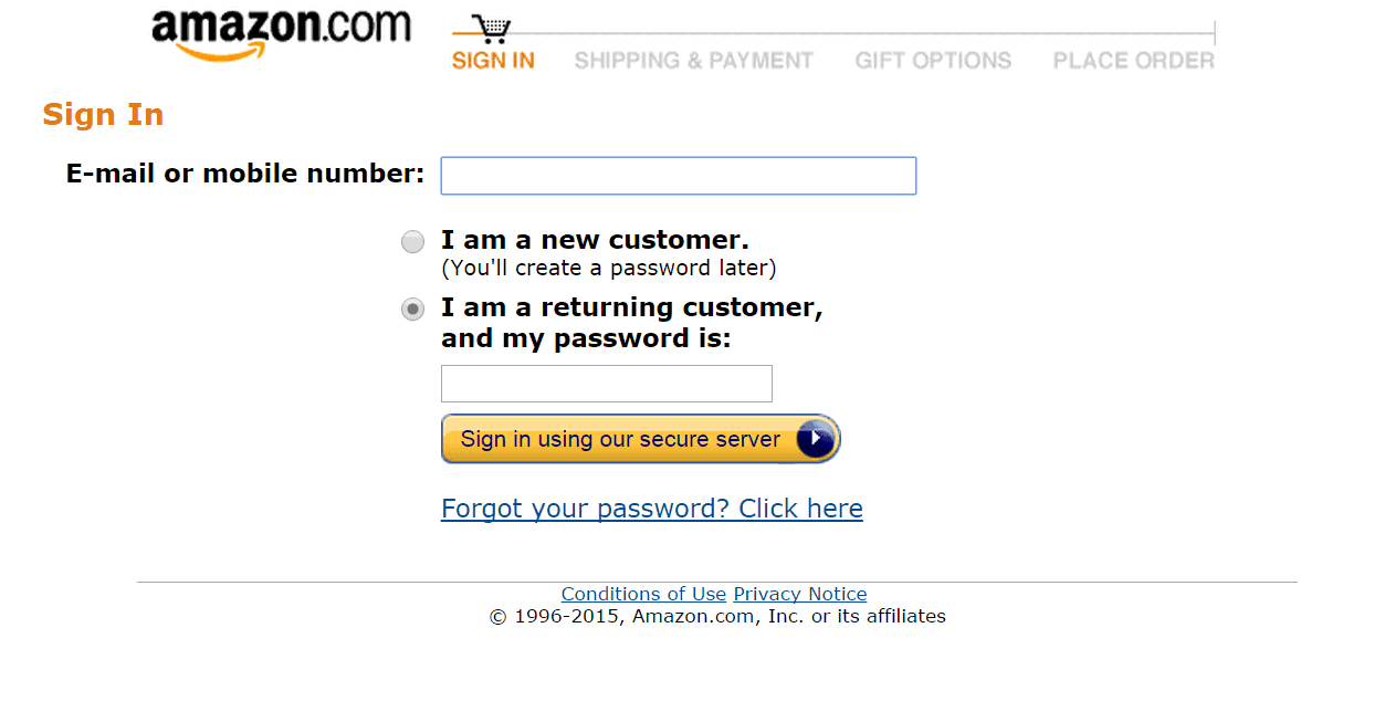 Amazon Account Password Reset