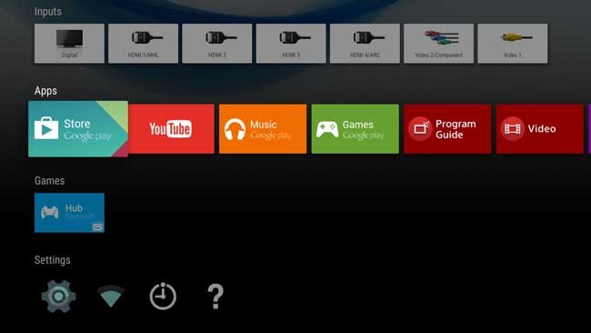 Shows the google play store on Sony Smart TV