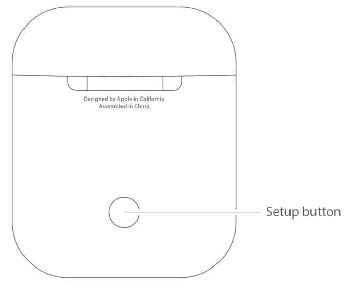 Image shows airpod setup button which is to be pressed for 3 seconds