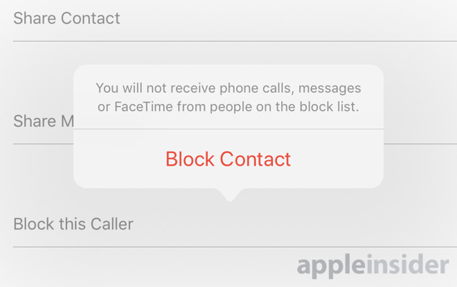 "Image shows the ""Block Contact"" prompt on iPhone"