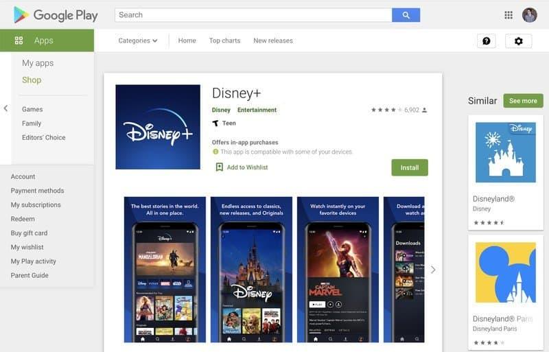 SHOWS Disney app install button