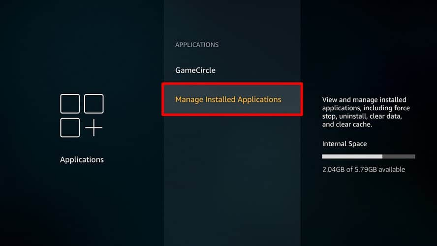 Manage apps installed Firestick