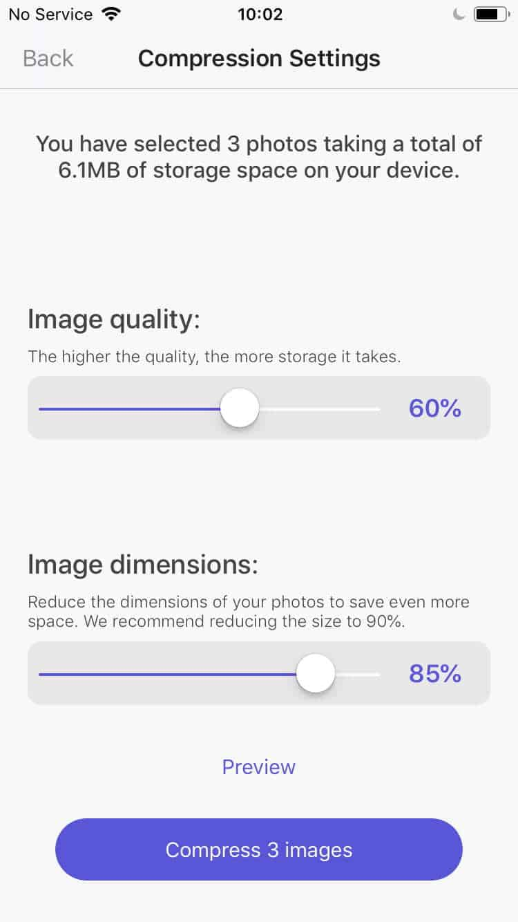shows the two compression options available for photo file size reduction- image quality and image dimension