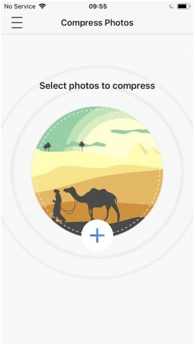 Shows how to use the image compressor app by tapping on a + icon