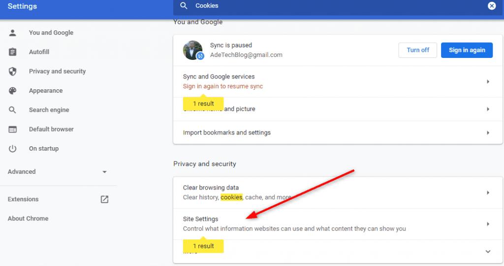 Chrome Cookies site settings