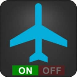 airplane with an on and off button below