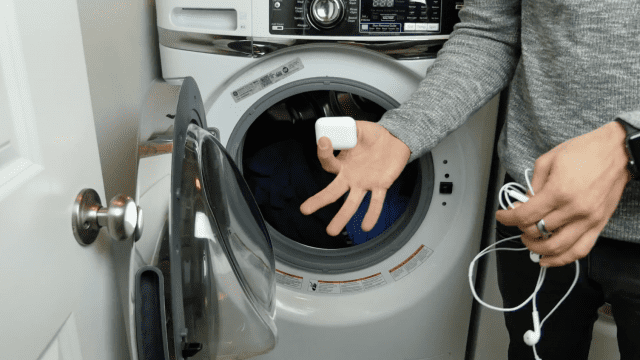 shows airpod being tosed into a washing machine. this is wrong because airpod is not waterproof
