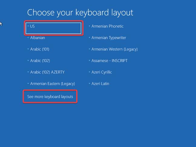 Windows 10 keyboard layout choices