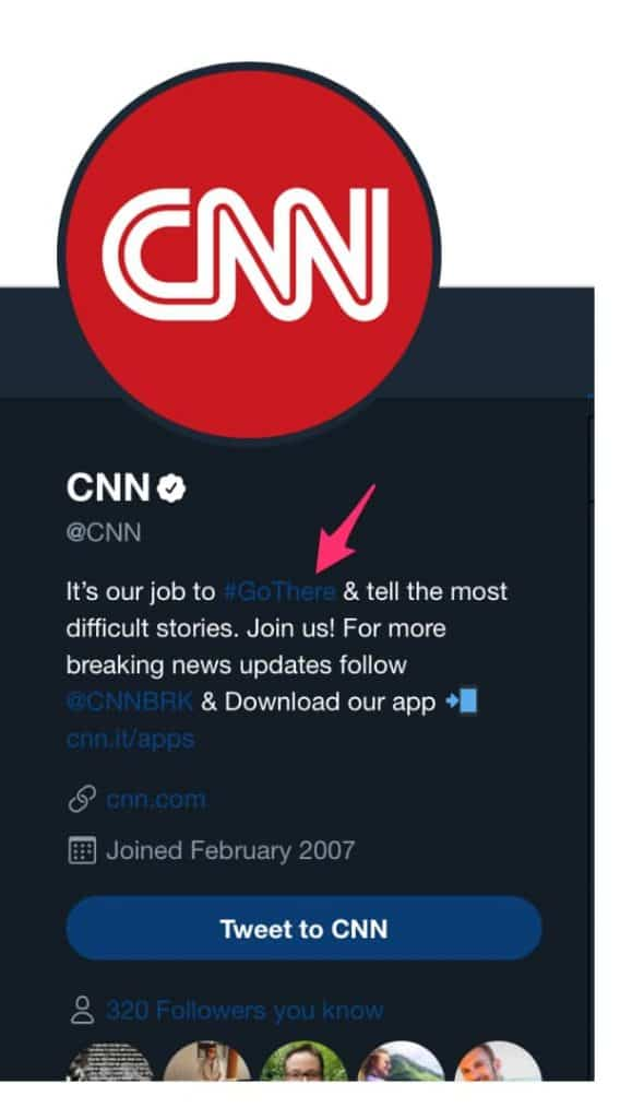 You can use hashtags to drive home a message like CNN