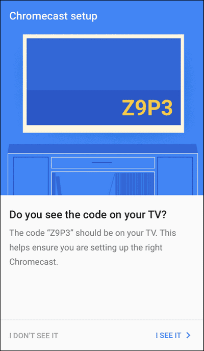 Shows code confirmation on TV