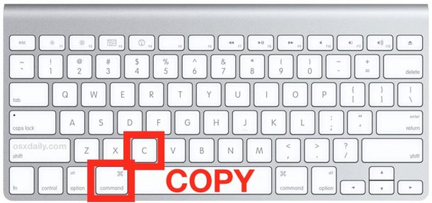 shows the practical pressing of the command and letter C button to copy on Mac