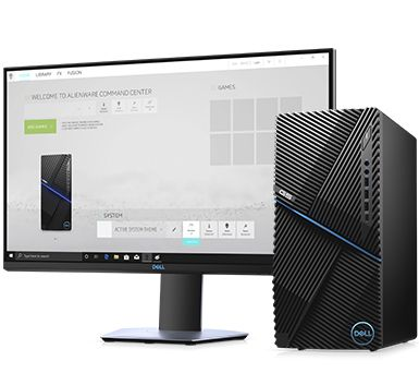 Shows dell G5 desktop computer suitable for Student works and gaming