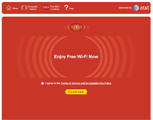 image shows successful sign that you have connected to mcdonald's free wifi