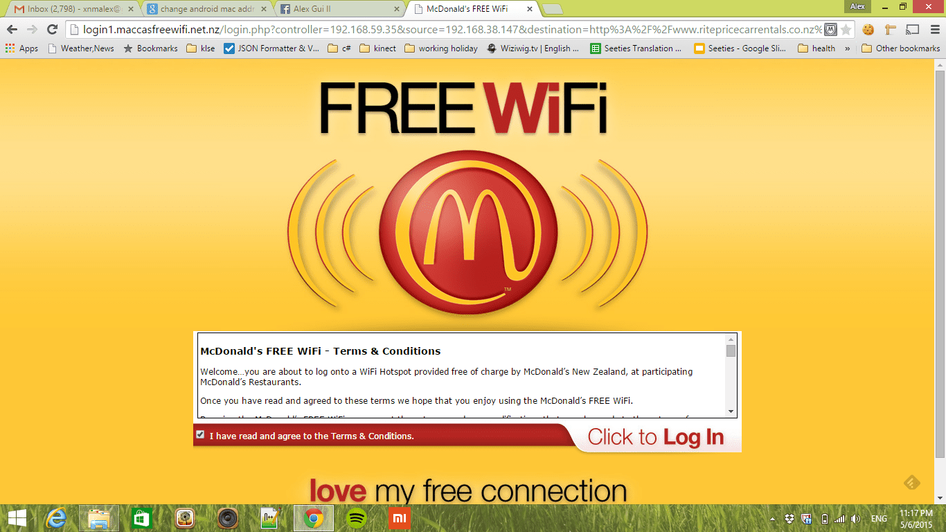 image shows how to connect mcdonald's free wi-fi by accessing the connection page
